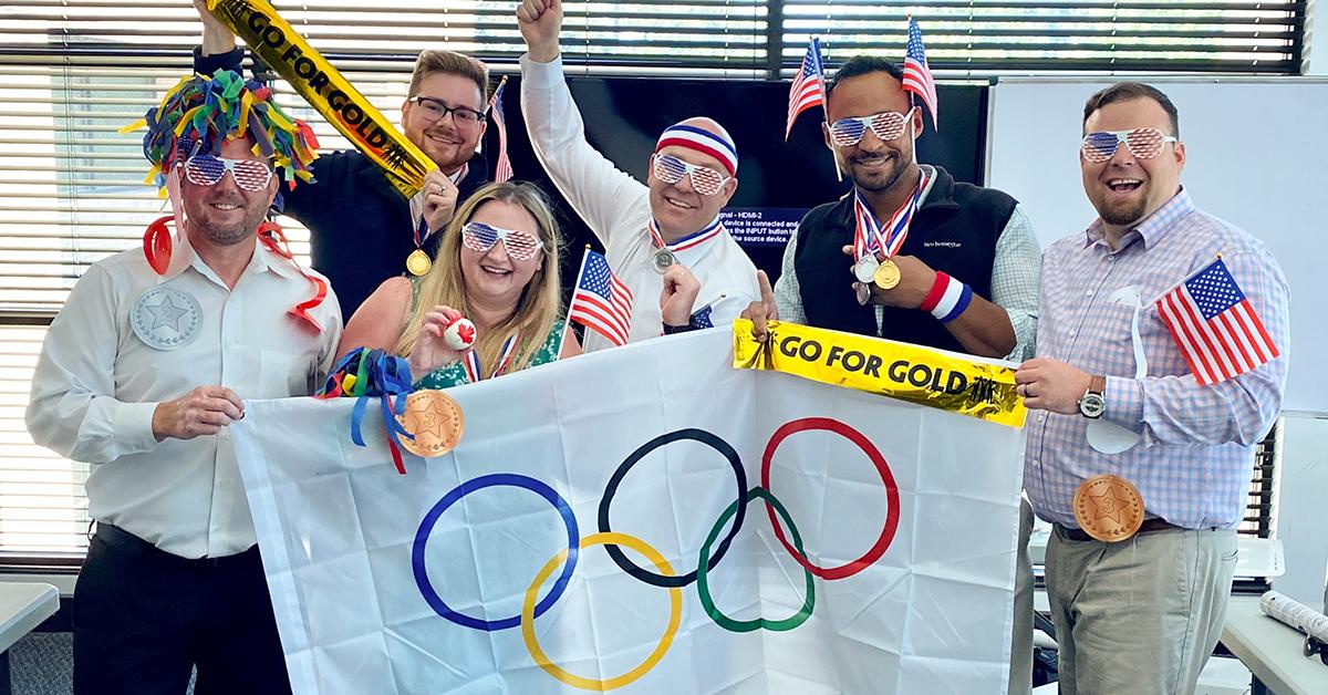 Sales Team Celebrating Olympic Contest
